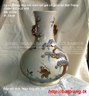 Bình lọ hoa men rạn giả cổ gốm sứ cổ truyền Bát Tràng