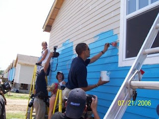 Obama painting houses
