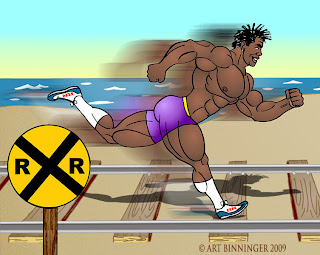 ROBBY ON TRACK WITH ANABOLIC PACK  BODYBUILDING ANIMATION BY ART BINNINGER  www.robbyrobinson.net/anabolic-pack.php