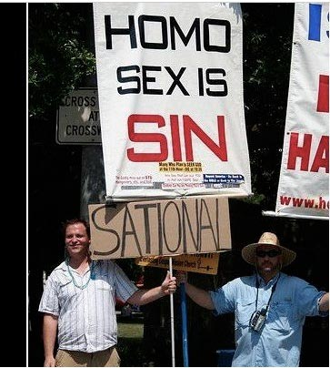 Huff Post has assembled a series of photos of pro-gay protesters pwn-ing ...