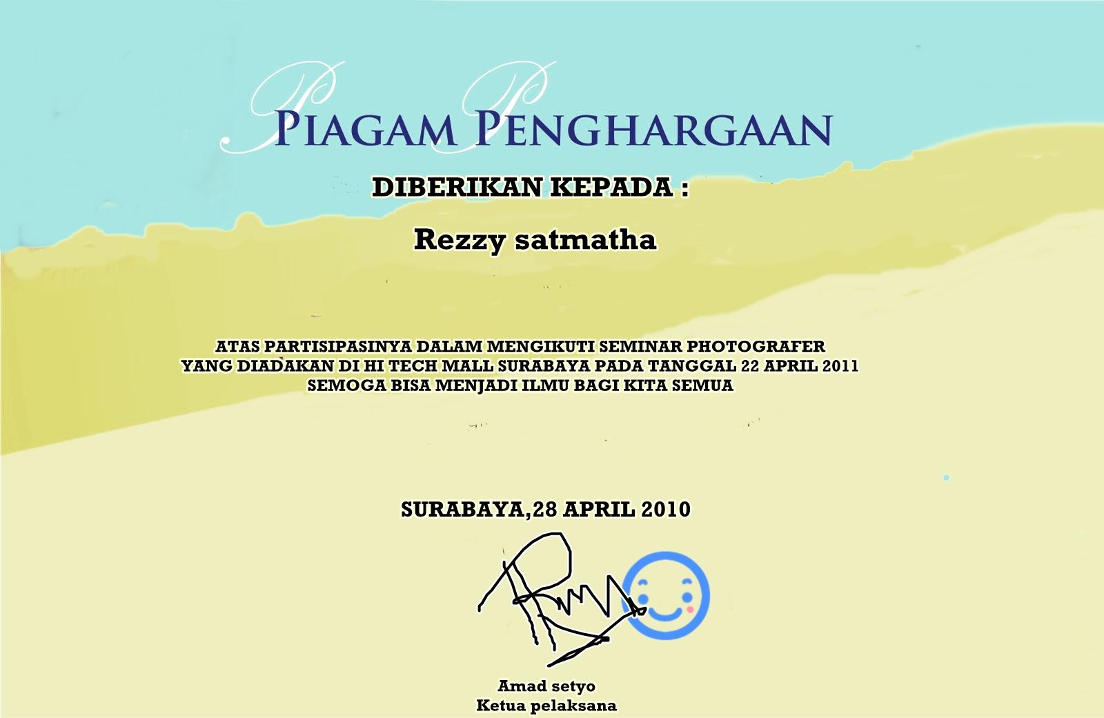 Rezzy Satmatha Att Piagam Penghargaan