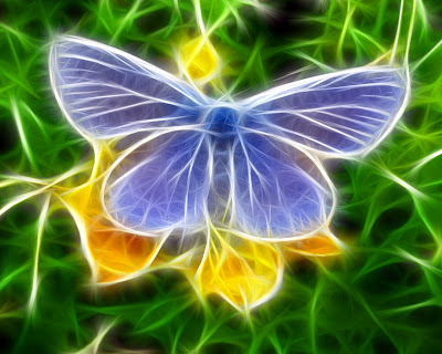 Free desktop wallpaper. Wave background. Cool 3D Butterfly Wallpaper and