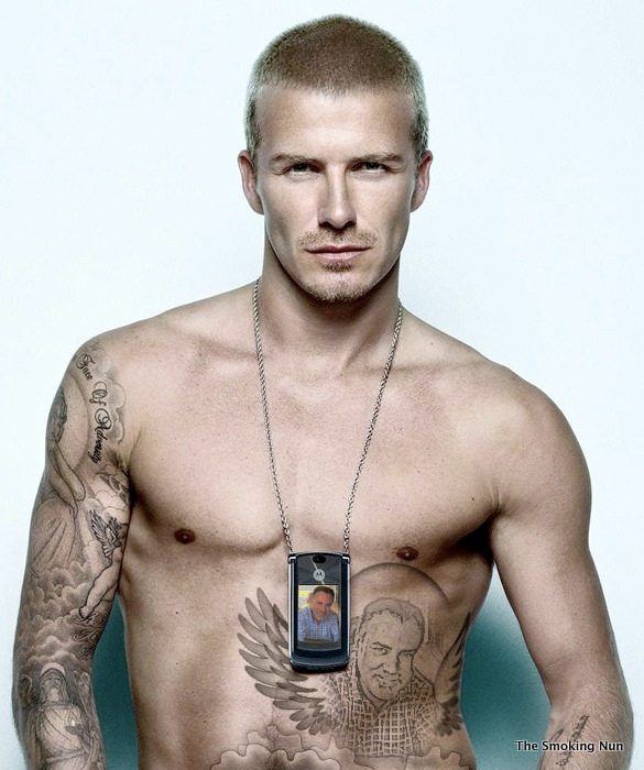 Note David Beckham's abdominal tattoo!