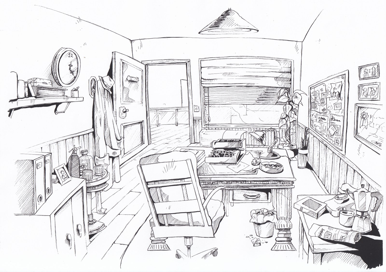 Este es otro fondo, esta vez exterior. Me apetecía dibujar arbolillos ...