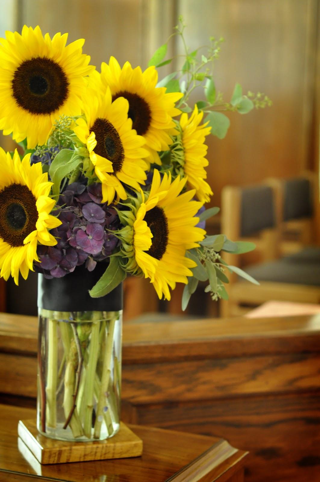 Mokara Floral Design Sunflower Yellow And Purple Wedding
