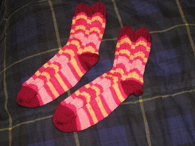 picture of striped socks, flat