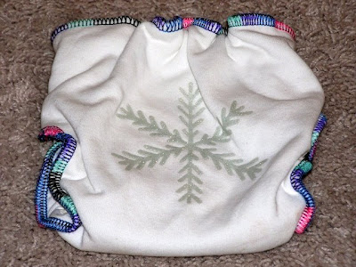 picture of a cloth diaper with a shiny snowflake on the bum