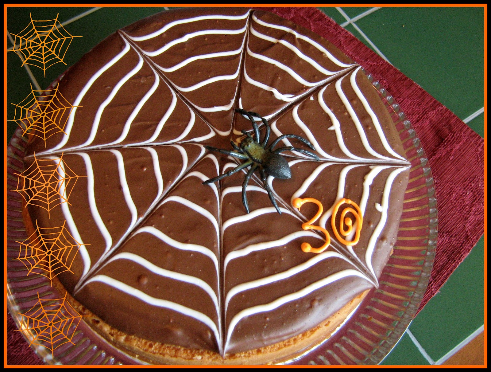 how to draw a spider web on a cake