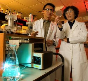 Pei Chiu (left), an associate professor in UD's Department of Civil and Environmental Engineering, and Yan Jin, a professor of environmental soil physics in UD's plant and soil sciences department, have developed an inexpensive, nonchlorine-based technology that can remove harmful microorganisms from drinking water, including viruses. (Credit: Image courtesy of University of Delaware)