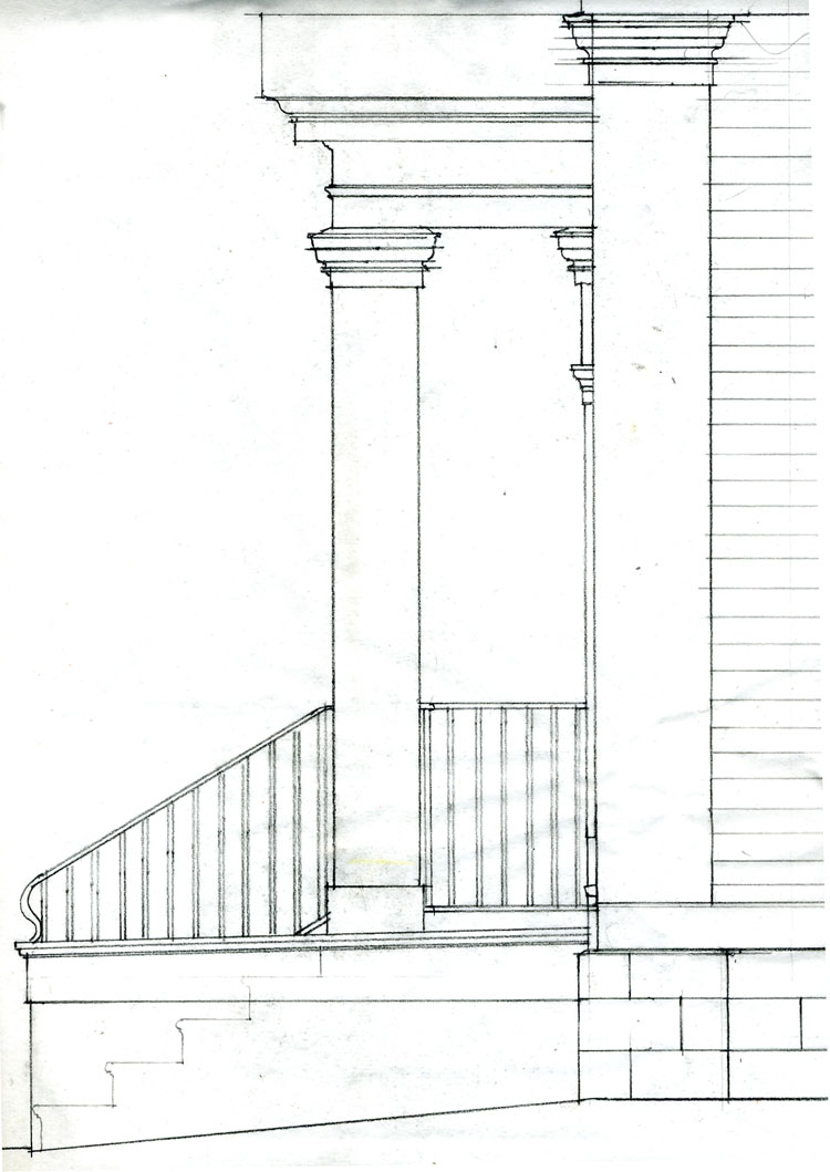Front Elevation With Portico : Cooper development company greek revival house circa