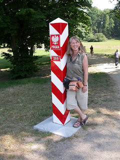 Janie on the border between Germany and Poland. Photograph by Janie Robinson, Travel Writer