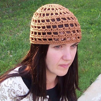 Travel headwear: Crochet hat, open stitch for women