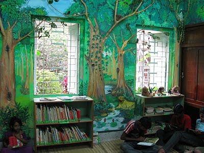 Social entrepreneurship bakul foundation children 39 s library for Enchanted forest bedroom ideas