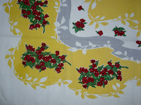 Vintage Tablecloth Yellow Grey with Red Flowers