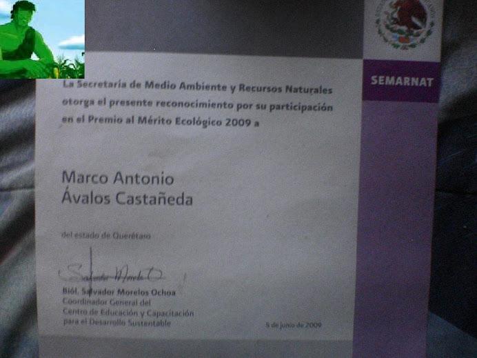PARTICIPACION EN EL PREMIO AL MERITO ECOLOGICO 2009
