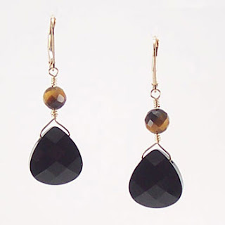 Tiger Eye Gemstone Crystal Drop Earrings (E075)