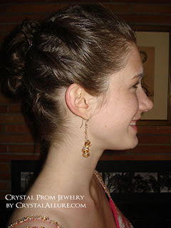 Emma wearing her Custom Handmade Crystal Prom Earrings by Crystal Allure Beaded Jewelry