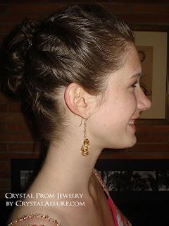 Emma wearing her Custom Handmade Crystal Prom Earrings by Crystal Allure Beaded Jewelry