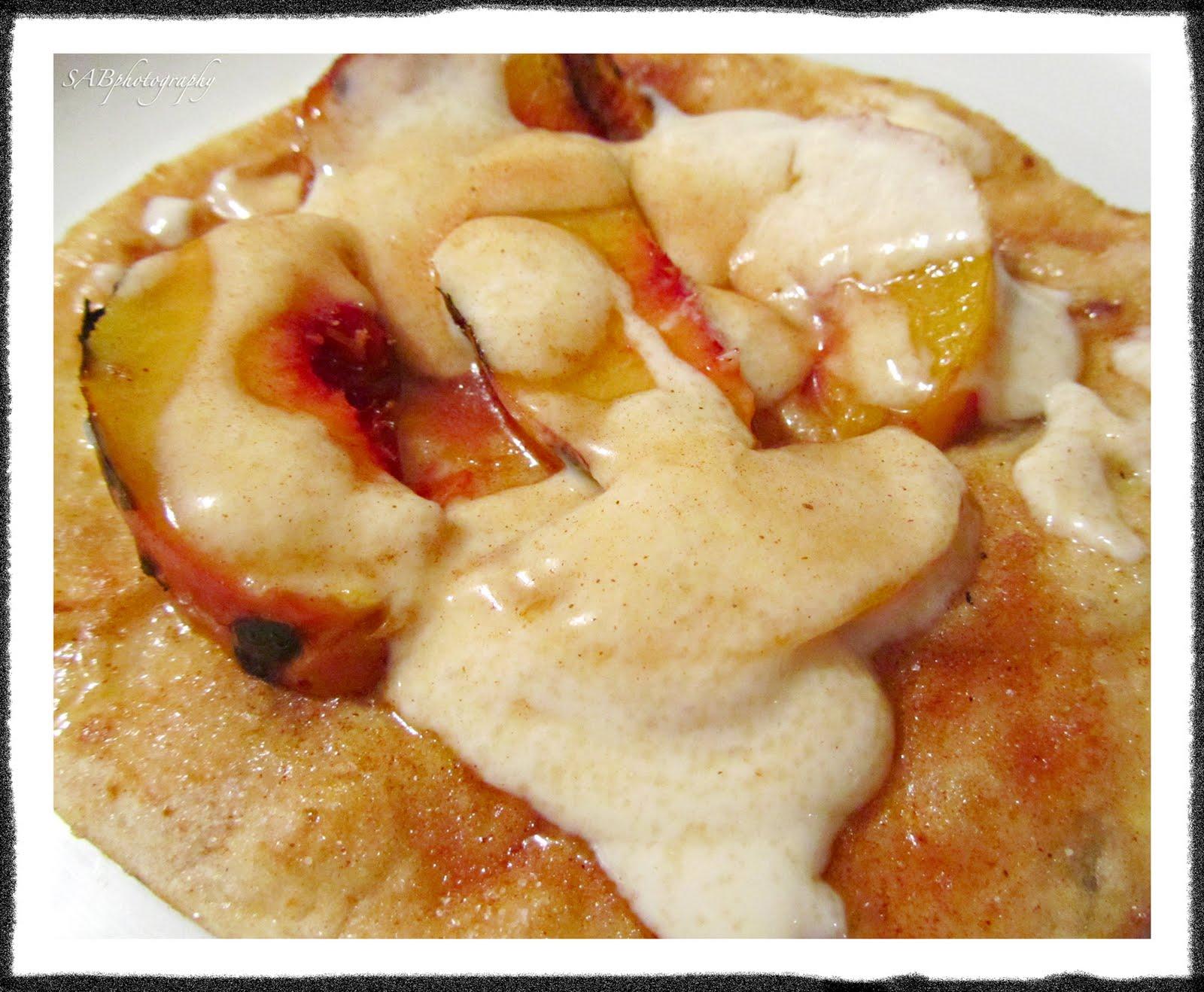 Grilled Peaches w/ Cinnamon-Sugar Tortillas & Sweetened Sour Cream~