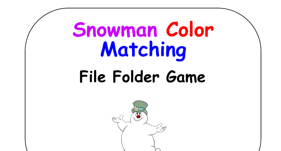 Zkfunlearning bluebutterfly printables snowman color for Free file folder game templates