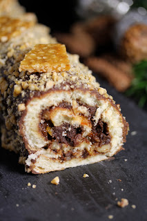 gâteau roulé, Noel, chocolat, nougatine ,caramel