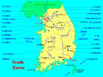 Map of Korea with camp locations