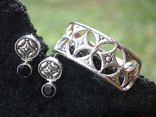 Antique Silver earring and ring in the package
