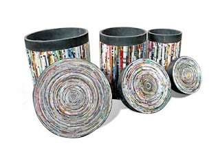 antique baskets from used newsprint