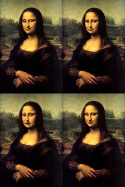 Durante el vuelo, Lisa practica su sonrisa.