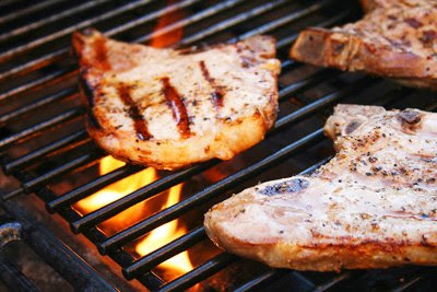 My Feasts: Grilled Pork Chops with Peaches and Bourbon Sauce