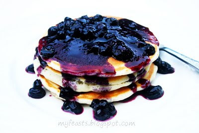 My Feasts: Pancakes with Homemade Blueberry Sauce