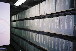 福島県歴史資料館(収蔵庫/中性紙BOXファイルに整理された近代文書)