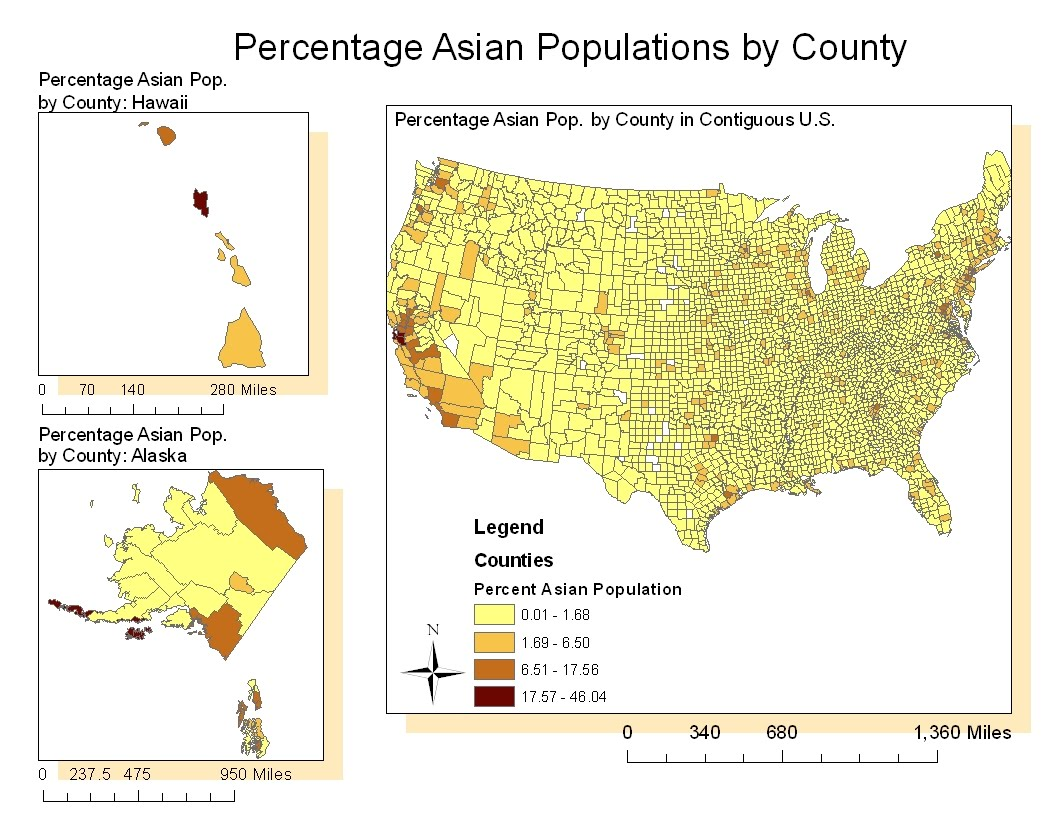 the above map shows percentage of asian populations divided by counties in the united states similar to the black population legend here