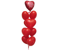 red color heart balloons on valentine day