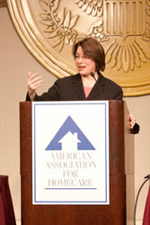 Senator Klobuchar addresses the WLC 2010 crowd