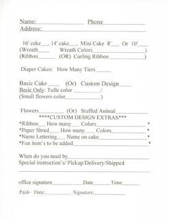 affordable diaper cakes diaper cake order form. Black Bedroom Furniture Sets. Home Design Ideas