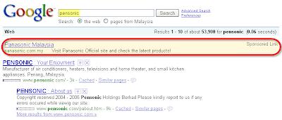 Google Search by Pensonic Showing Panasonic Ads