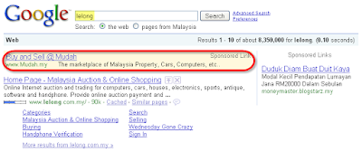 Google Search by Lelong Showing Mudah Ads