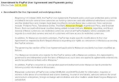 PayPal's policy updates on Ringgit Malaysia