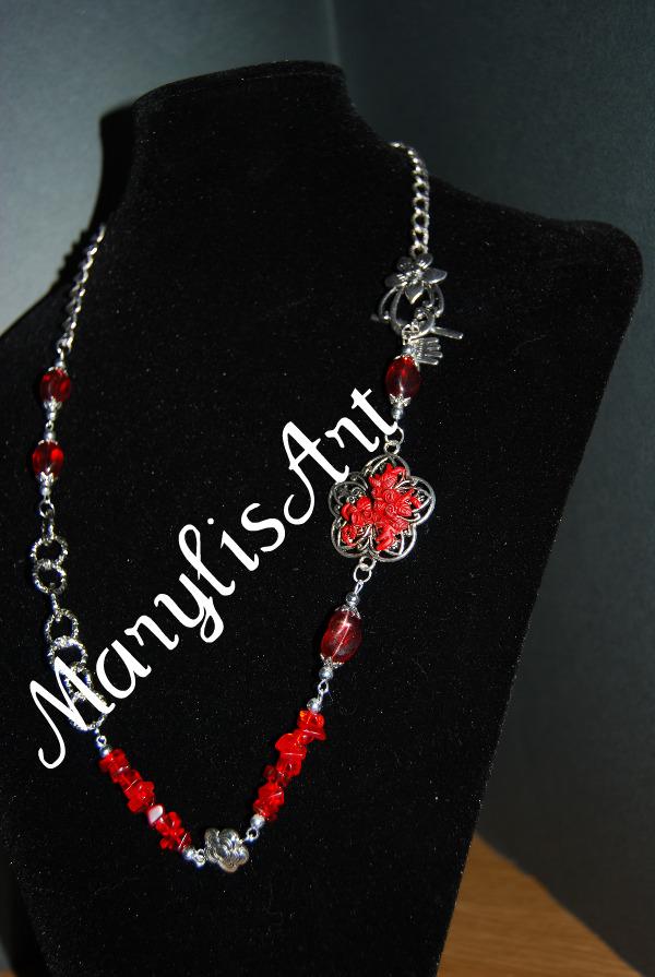Nuove collane... Collana+rossa+con+filigrana+a+fiore