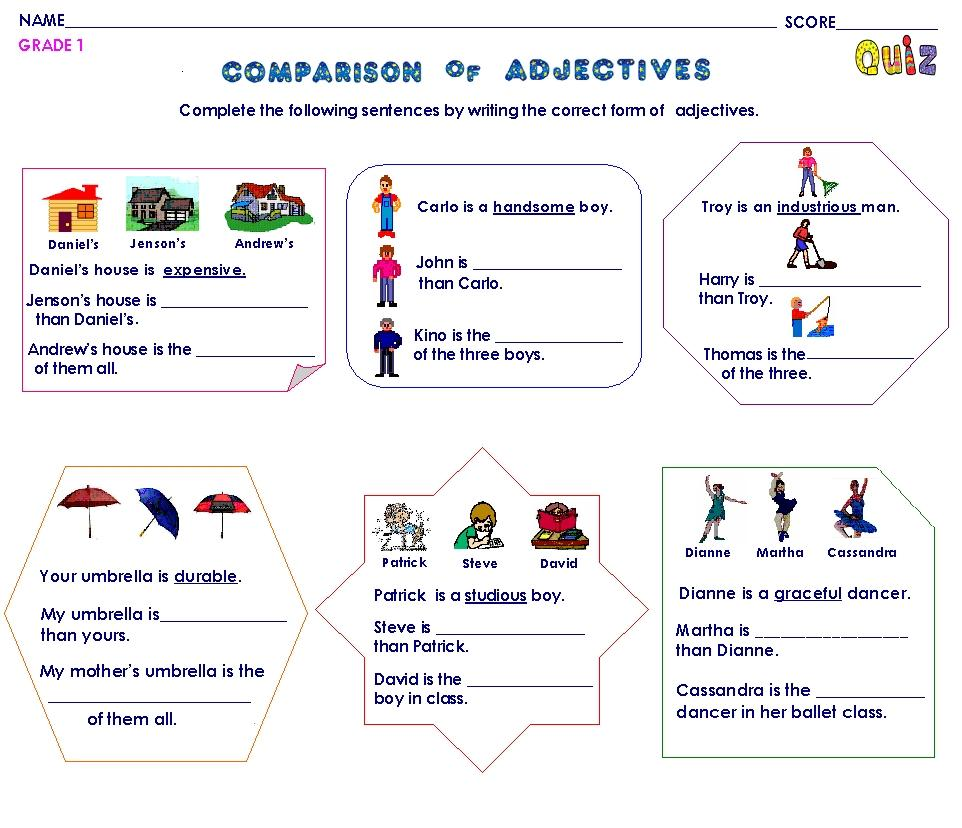 Worksheets 3 4 5 these are for you to revise the comparatives once