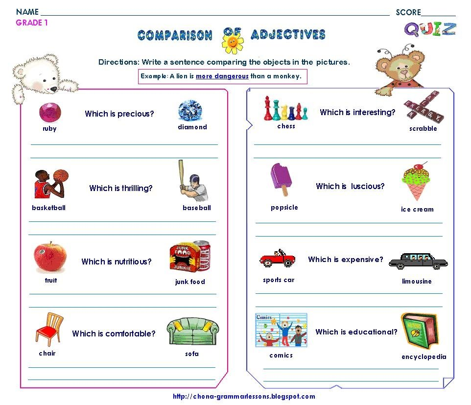 Worksheets For Adjectives Esl.html. Adjectives Worksheet Page