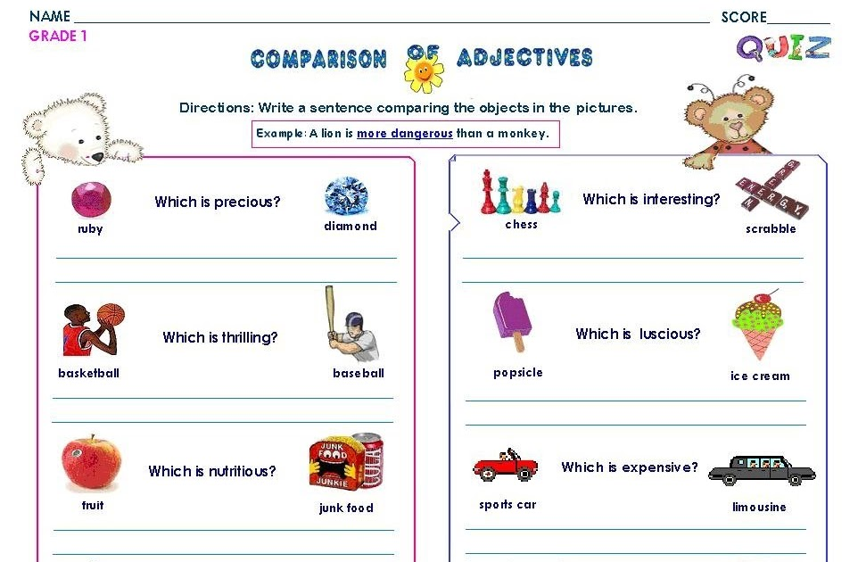 Grammar Worksheets Gr 1 Comparison Of Adjective Using More And Most
