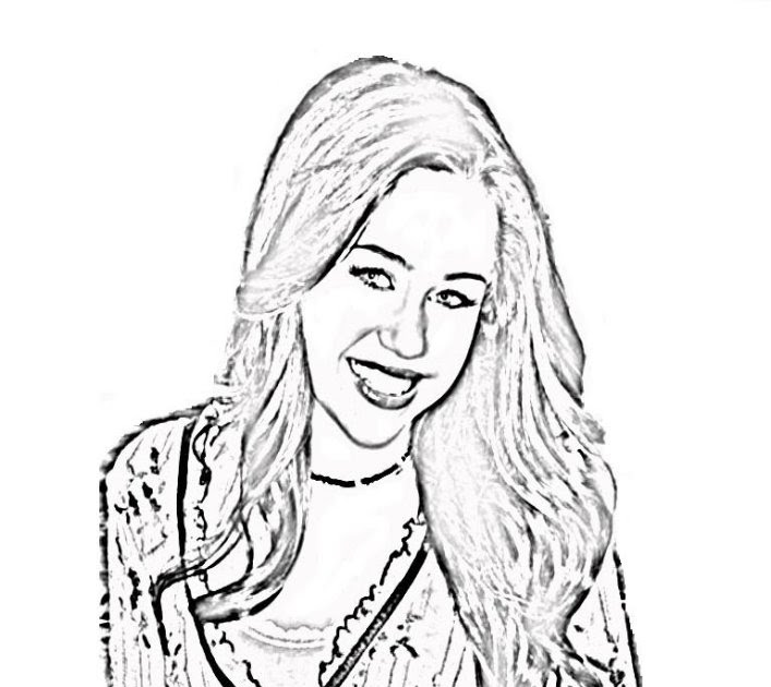 Free Coloring Pages Miley Cyrus As Hannah Montana