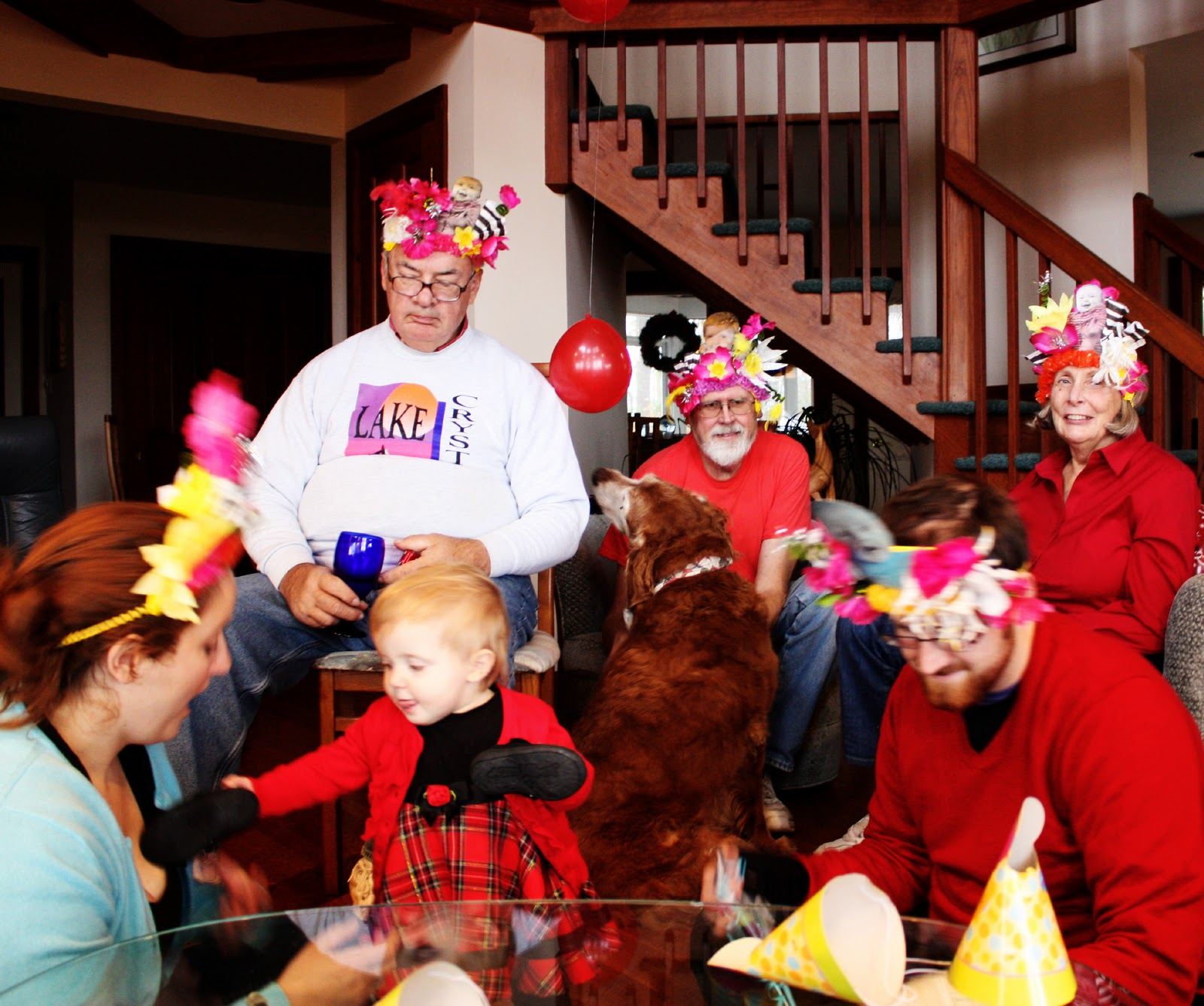 My Family Wearing Abigail Themed Party Hats At Abigails First Birthday Note Every Adult On The Property That Day Was One Of These
