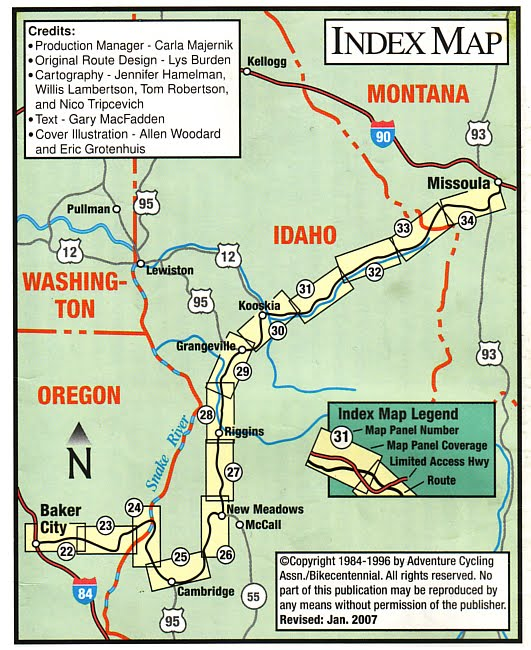 Maine To Oregon 07 Map 10 Missoula Mt To Baker City Or