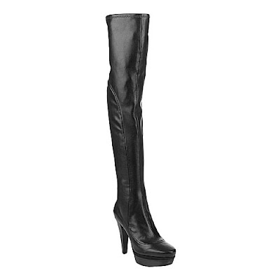 Over the knee black leather boots@fashionpickles