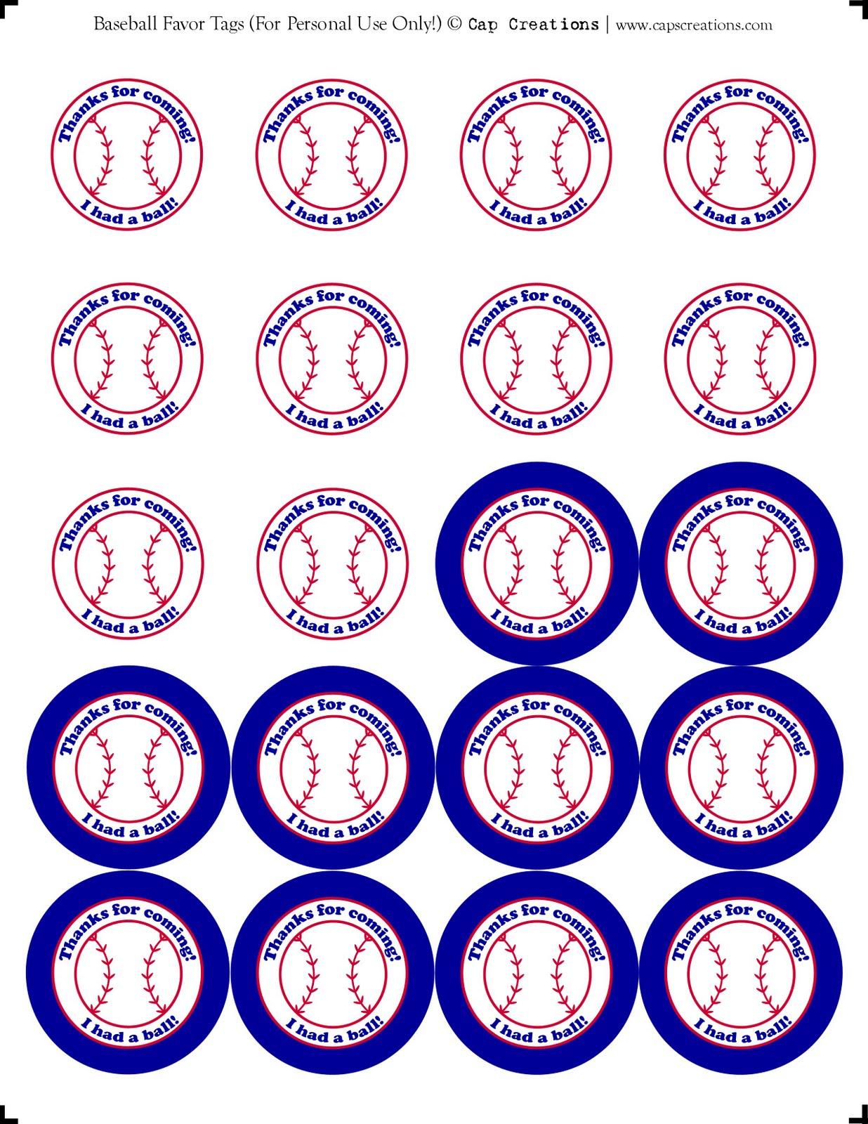 Cap Creations: Printable Baseball Party Favor Thank You Tags