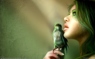 Fantasy Girl and Bird, Photoshop girl, Digital Art HD Wallpapers