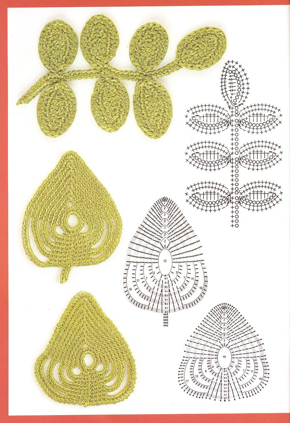 Patrones de hojas tejidas en crochet - Imagui
